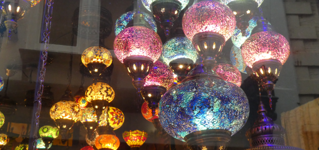 Picture of colourful lamps