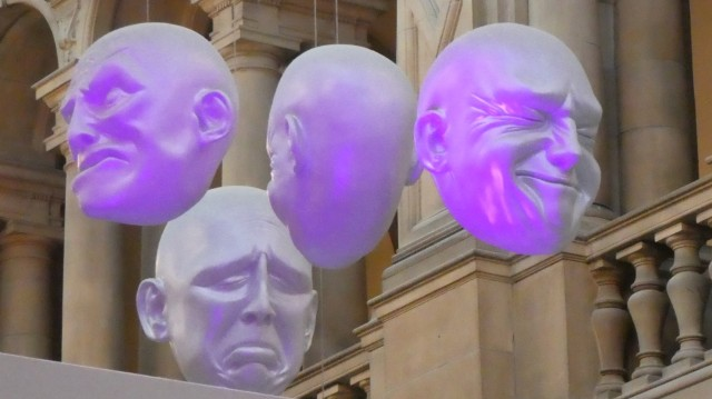 Photo of The Floating Heads installation at the Kelvingrove Museum in the Scottish city of Glasgow